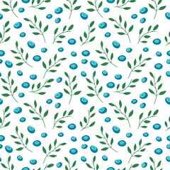 Seamless pattern with blueberries and leaves. Simple colors