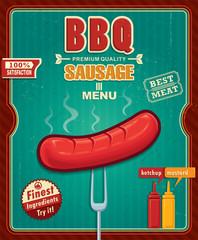 Vintage BBQ sausage poster design