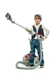 Boy with vacuum cleaner