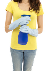 Cleaning woman with a spray bottle
