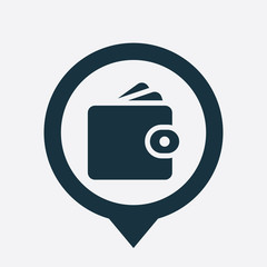 Wallet icon map pin