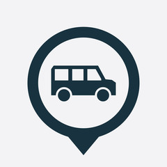 school bus icon map pin