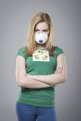 Angry woman wear in protective mask