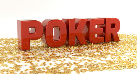 Poker - Red text on gold stars - High quality 3D Render