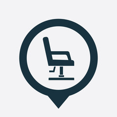 barber chair icon map pin