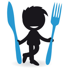 Short People with cutlery