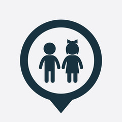 girl and boy icon map pin