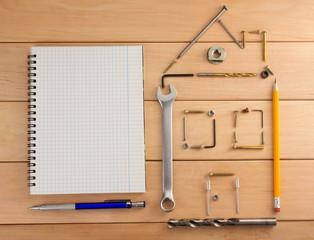 engineering concept on wood