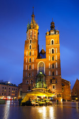 St. Mary's basilica in the main square of Krakow, Poland.