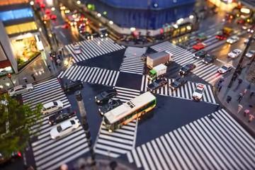 Belebte Straßenkreuzung in Tokyo Zeitraffer