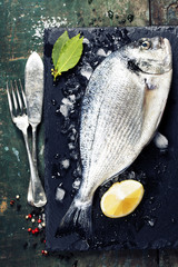Food background with Fish and Wine