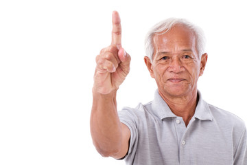 old man pointing 1 finger up, no.1 gesture