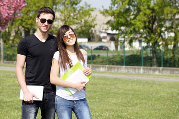 Students studying outdoor