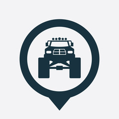 monster car icon map pin