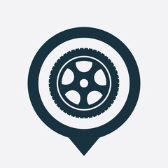 car wheel icon map pin