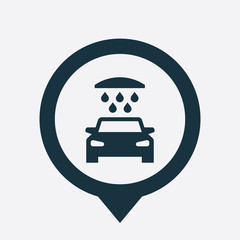 car wash icon map pin