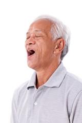 old man yawning
