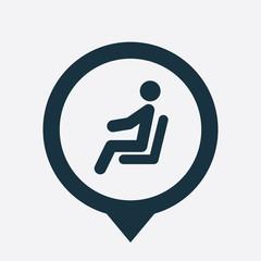 seating man icon map pin