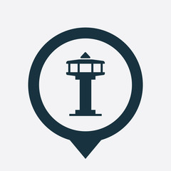 control tower icon map pin