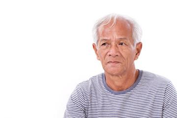 old senior man suffering from eye disease, surfer's eye, pterygi