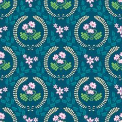 春の花「レンゲ草」スクエア形状B(グリーン背景-基本サイズ)