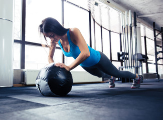 Young woman doing push up