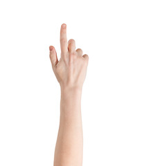 White female hand with index finger raised up and pointing, iso