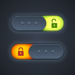 Lock or unlock switcher in 3d style with backlight.