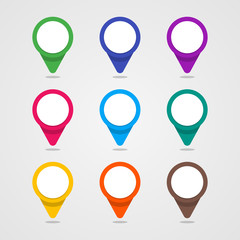 Set of colorful map pointer in flat style and material design co