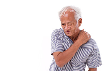 old man suffering from shoulder muscle inflammation or injury