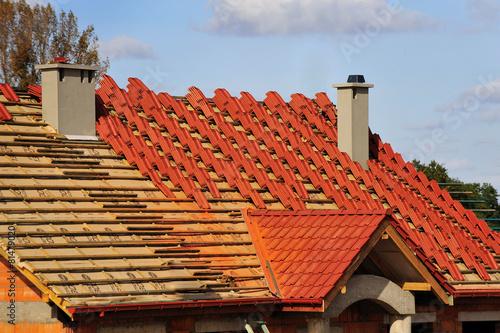 Leinwanddruck Bild roof, building, covering, insulation, atmospheric, repair,