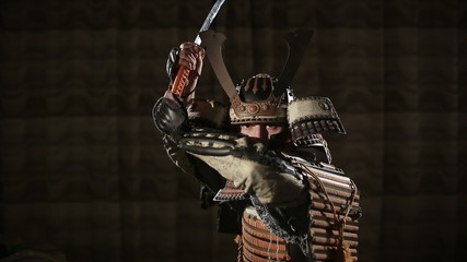 European man in the way of the samurai threatens the opponent
