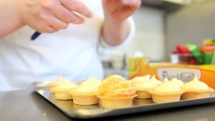 chef hands pastry prepare cream fruit sweets