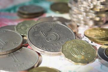 The coins of Hong Kong dollars close up