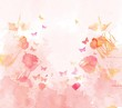 watercolor butterflies and floral background - 81480004