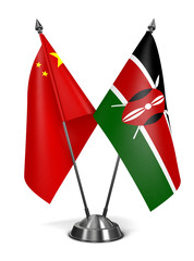 China and Kenya - Miniature Flags.