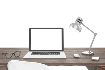 3D illustration laptop on table, Workspace