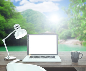 3D illustration laptop on table, Workspace on nature