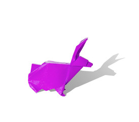 Pink purple Origami rabbit isolated on white