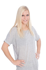 Blond Woman in Studio with Hands on Hips