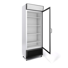 3d commercial fridge with glass door on white background