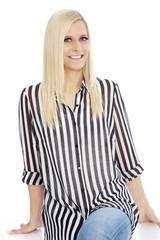 Smiling Blond Woman Wearing Striped Shirt