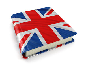 Book with UK flag (clipping path included)