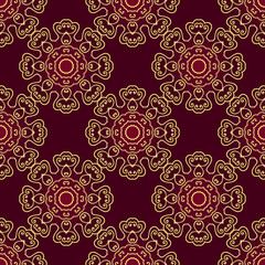 gold swirls on a red background