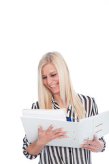 Blond Woman with Open Binder