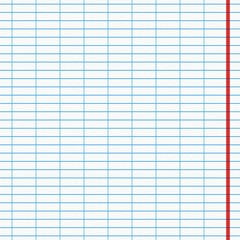 Blank sheet with blue lines and red edge from the notebook.