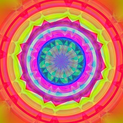 Abstract colorful circle with star shapes inside of this.
