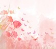 watercolor butterflies background - 81481414