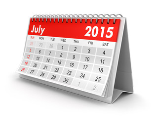 Calendar -  July 2015  (clipping path included)