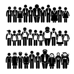 Group of People Worker from Different Profession Cliparts
